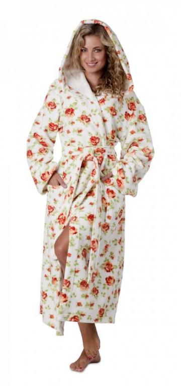 ROSE dámský bavlněný župan s kapucí CELOKVĚTOVANÝ - výprodej