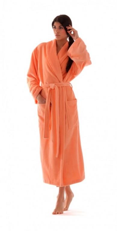 TAMPA dámský bavlněný župan se šálovým límcem MERUŇKOVÝ