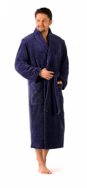 TAMPA pánský bavlněný župan se šálovým límcem TMAVĚ MODRÝ