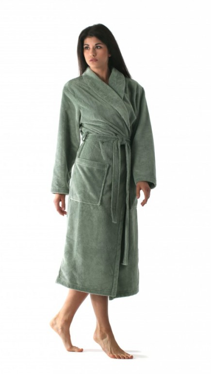 TAMPA dámský bavlněný župan se šálovým límcem OLIVOVÝ