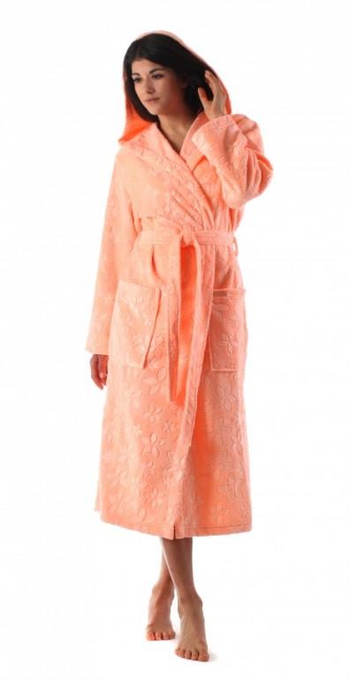 BIBI dámský bavlněný župan s kapucí MERUŇKOVÝ