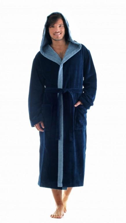 TAMPA DUO pánský bavlněný župan s kapucí TMAVĚ MODRÝ