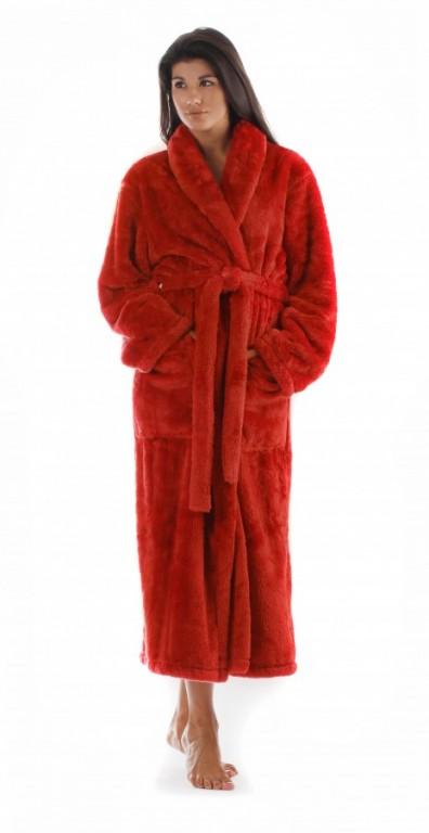 LILLY Extra dámský dlouhý župan se šálovým límcem SKOŘICOVÝ - XL - výprodej