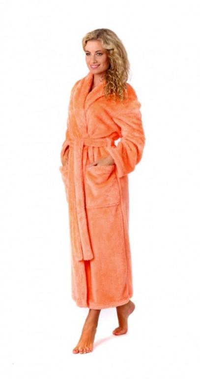 LILLY Classic dámský dlouhý župan se šálovým límcem LOSOSOVÝ - L - výprodej
