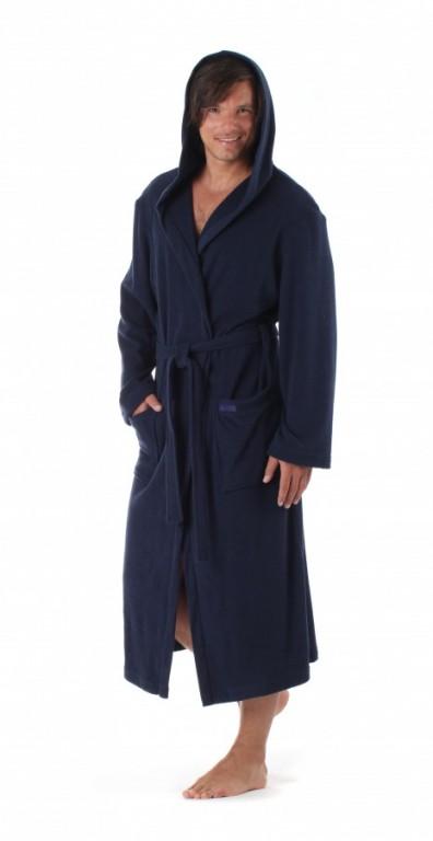 MONZA lehký pánský bavlněný župan s kapucí TMAVĚ MODRÝ