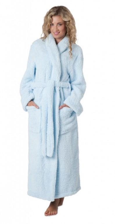 LYRA dámský dlouhý župan se šálovým límcem SVĚTLE MODRÝ - L - výprodej