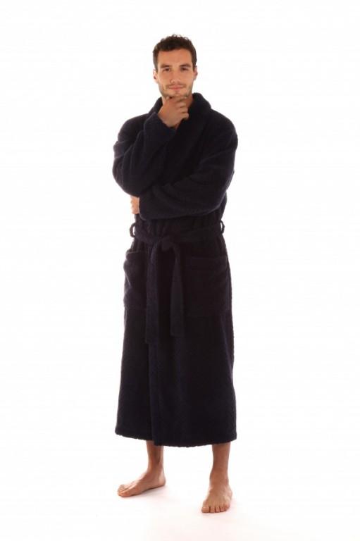 ATHENA pánský bavlněný župan se šálovým límcem MODRÝ