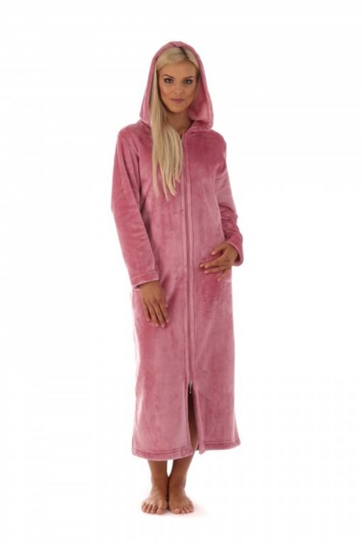 SIENA dámský dlouhý župan s kapucí na zip PUDROVÝ XL výprodej