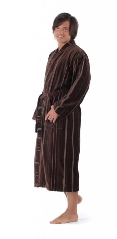 TERAMO pánský bavlněný župan kimono ČOKOLÁDOVÝ