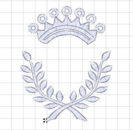 Monogram - výšivka - rámeček - VAVŘÍN s KORUNKOU