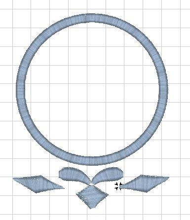 Monogram - výšivka - rámeček - LÍSTKY